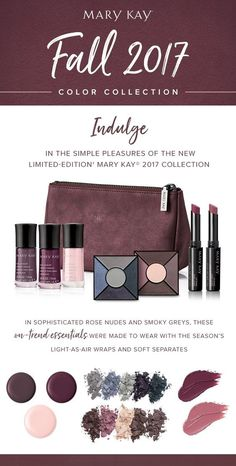 Looking for the best way to stay on-trend this fall? Dive into jewel tones, covetable semi-matte lip shades, luxurious eye palettes, and scratch-resistant nail lacquers with the limited-edition Mary Kay® Fall 2017 Color Collection. Spa Facial, Fall Makeup, Eye Makeup, Fall 2017 Colors, Mary Kay Cosmetics, Makeup Cosmetics, Eye Palettes, Mary Kay Ash, Elegant Nail Designs