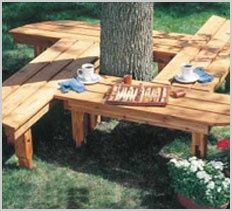 Free Garden Bench and Tree Bench Plans – Select from dozens of beautiful outdoor… Diy Projects Plans, Backyard Projects, Outdoor Projects, Garden Projects, Wood Projects, Tree Seat, Tree Bench, Bench Around Trees, Gazebos