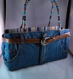 Genuine Bootie Bag Southwest Look Purse from Denim Jeans Leather Belt Beads