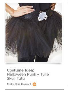 Costume Idea: Halloween Punk - Tulle Skull Tutu. Make this Project