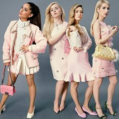 Scream Queens co-stars Ariana Grande, Abigail Breslin, Billie Lourd, and Emma Roberts, photographed in New York City. Photograph by Emma Summerton ari is too pretty. Emma Roberts, Scream Queens Fashion, Scream Queens Costume, Chanel Oberlin, Fashion Vestidos, Abigail Breslin, Ariana Grande Fans, Queen Outfit, Mean Girls