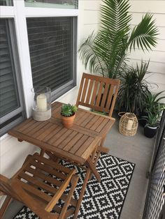 Small balcony design and decor ideas. Small garden. Target and World Market furniture. Succulents and candles.