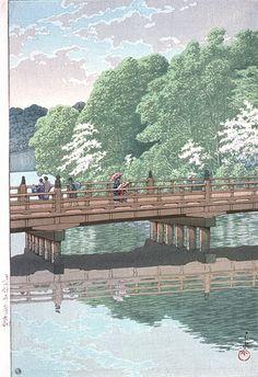 Kawase Hasui (1883-1957): Benkei Bridge At Akasuka, 1952