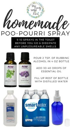 Easy recipe for homemade DIY Poo Pourri Spray, also makes a nice fragrant spray to freshen any room or trash can, or use to freshen stale car. This makes a great clean smelling room spray, or even bed spray! Homemade Cleaning Products, Cleaning Recipes, Natural Cleaning Products, Cleaning Hacks, Cleaning Items, Cleaners Homemade, Diy Cleaners, Young Living Essential Oils, Essential Oil Blends