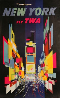 Times Square - Fly TWA. Tourism poster (artist unknown) c. 1960-1975, in the Newark Public Library's art collection