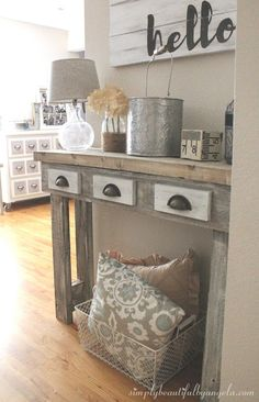 Simply Beautiful by Angela: Backyard Scrapwood Turned Rustic Console Table