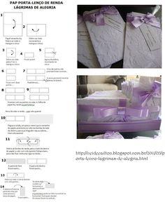Compilado de: http://neideeailton.blogspot.com.br/2011/05/porta-lenco-lagrimas-de-alegria.html Lágrimas de renda