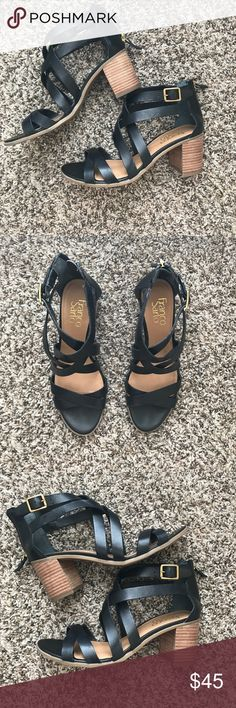 black heeled sandals super cute black summer heel! great with jeans, shorts, or dresses! worn only TWICE! Franco Sarto Shoes Heels