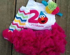 Pink and turquoise chevron Elmo birthday by WildRoseBoutique2