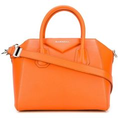 Givenchy small 'Antigona' tote ($2,750) ❤ liked on Polyvore featuring bags, handbags, tote bags, givenchy, bolsas, orange, givenchy handbags, orange handbags, handbags totes and handbags tote bags