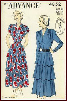 Advance 4852-1948  Vintage Sewing Patterns Advance 1940s Dresses Flounce Gathers Set-in Sleeves Cap Sleeves Long Sleeves Tapered Sleeves Three-quarter Sleeves V Neckline Shoulder Pads Dart fitted Belts Side zipper Shirring Flared Skirts Tiers