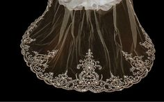 Stunning Beaded Embroidery Cathedral Wedding Veil VR3030