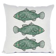 Custom FABRIC - Barramundi Pillow - Decorative square cotton linen cushion cover pillow