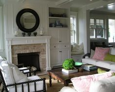 love those chairs !! pink & green + black white & dark chestnut wood looks perfect <3
