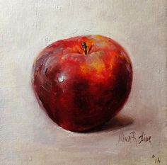 Red Apple Original Oil painting  by Nina R.Aide. Canvas 6x6 inches. Kitchen Home Décor. Available on Etsy