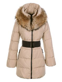 Moncler Women Large Fur Collar Long Coat Khaki