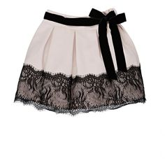 Mademoiselle Charlotte Lace-Bottom Pleated Skirt ($58) ❤ liked on Polyvore featuring skirts, black floral skirt, light pink skirt, knee length pleated skirt, lace skirt and pleated skirt