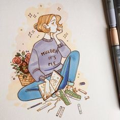 Sibylline meynet ( твиттер drawing and painting Art And Illustration, Pretty Art, Cute Art, Character Art, Character Design, Creation Art, Marker Art, Copics, Cute Drawings