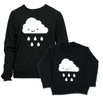 By popular demand we bring you the twin deal featuring our Kawaii cloud design.  Both are hand screen printed on 100% cotton California fleece American Apparel sweatshirts.   Please select your adult size and leave kids size in comments (2T,4T,6T)