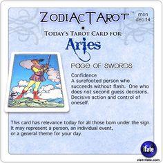 Zodiac Tarot for December 14: Aries <br>  http://ifate.com