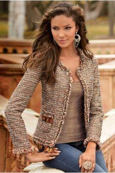 Boston Proper Feather tweed jacket.. LOVE..