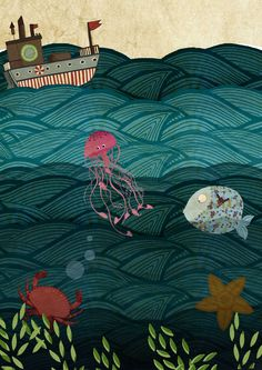 Under the sea illustration by Martin Le Lapin