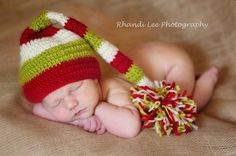 Christmas Crochet Night Cap with PomPom by RainyDayDelightz, $28.50