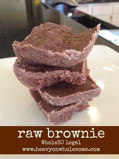 Raw Brownie Recipe {Whole 30 legal, no added sugars, eggs, dairy or grains} - Heavy On Wholesome