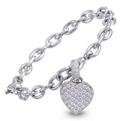 Jacob & Co. | Timepieces | Fine Jewelry | Engagement Rings | Diamond Heart Charm Bracelet