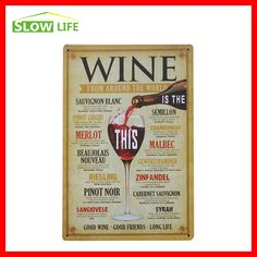 """Wine From Around the World Retro Vintage Tin Sign 8""""x12"""" Metal Sign…"""