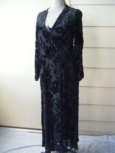 Chic Vtg 1930-40s Black Floral Velvet Silk Sheer Long Dress-Bust 38/M-L