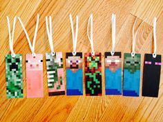 Minecraft bookmarks - free printable available at Mine Craft Party, Minecraft Crafts, Free Minecraft Printables, Minecraft Activities, Minecraft Stuff, Minecraft Skins, Minecraft Buildings, Minecraft Birthday Party, 8th Birthday