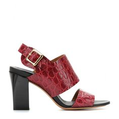 f78713b638b mytheresa.com - Croc-effect leather sandals - Mid heel - Sandals - shoes -  Luxury Fashion for Women   Designer clothing