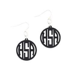 Acrylic Earrings with Circle Monogram