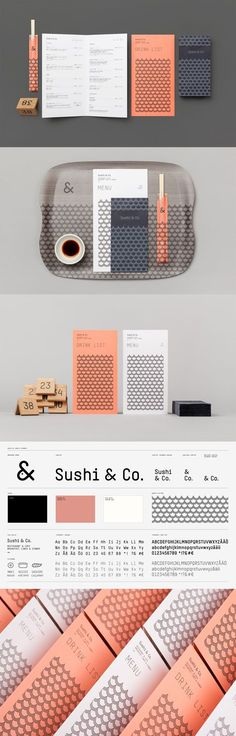 logo and brand identity for Sushi & Co. by Helsinki's Bond agency. Loving that suave (and fitting) color scheme and the waves/fish scales double visual motif