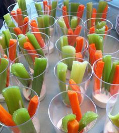 Carrots and celery with ranch dressing.