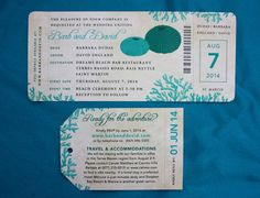 Turquoise & Teal Sea Urchin & Coral Antique Airline Ticket Wedding Invitations