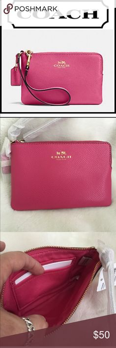 "❌FIRM❌Coach Pink Leather Corner Zip Wristlet Cross-grain Leather Corner Zip Wristlet/Wallet Dahlia Pink Gold COACH emblem embossed on front Gold toned hardware and zipper Lined fabric interior with 2 walled slip pockets Leather wrist strap COACH care card and wrapped in original packagingMeasures: 6"" x 4""Wristlet strap: 6""           ALL MY COACH PRODUCTS COME STRAIGHT FROM COACH AND HAVE NEVER BEEN HANDLED BY ANYONE & WILL COME TO YOU WRAPPED IN ORIGINAL PACKAGING  Host Pick 6/22 by…"