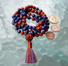 Rudraksha 108 Mala Necklace Buddhist Prayer Japa Mala Beads, Red Jasper & Lapis    eBay