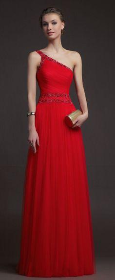 A-line One Shoulder Beading Sleeveless Floor-length Tulle Prom Dresses / Evening Dresses Stunning Dresses, Beautiful Gowns, Elegant Dresses, Pretty Dresses, Beautiful Outfits, Bridesmaid Dresses, Prom Dresses, Formal Dresses, Wedding Dresses