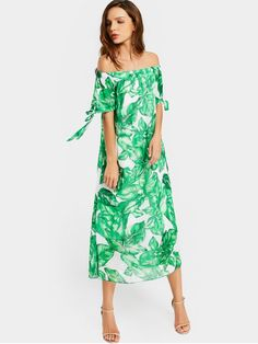 Off The Shoulder Leaves Print Dress - WHITE AND GREEN M