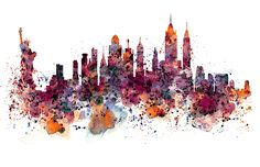 New York Skyline Silhouette Acrylic Tray by MarianVoicu - Medium 15 x Frames On Wall, Framed Wall Art, Wall Art Prints, Fine Art Prints, Framed Prints, Canvas Prints, Watercolor Mixing, Watercolor Art, Face Art