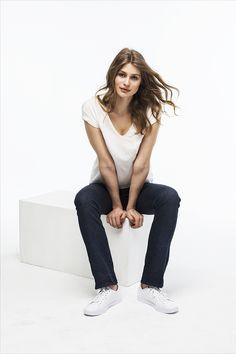 PARIS BLUES NOIR, slim fit Jeans, Elegant, Dame, Blues, Normcore, Fitness, Fashion, Dark Blue, Cotton