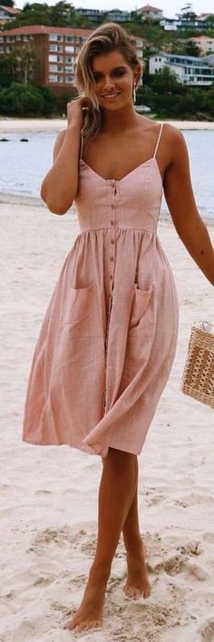beige spaghetti strap button-up dress. Pic by Stelly Clothing. … beige spaghetti strap button-up dress. Pic by Stelly Clothing. Teen Fashion Outfits, Mode Outfits, Look Fashion, Dress Fashion, Fashion Clothes, Fashion Ideas, Skirt Outfits, Trendy Fashion, Fashion Women