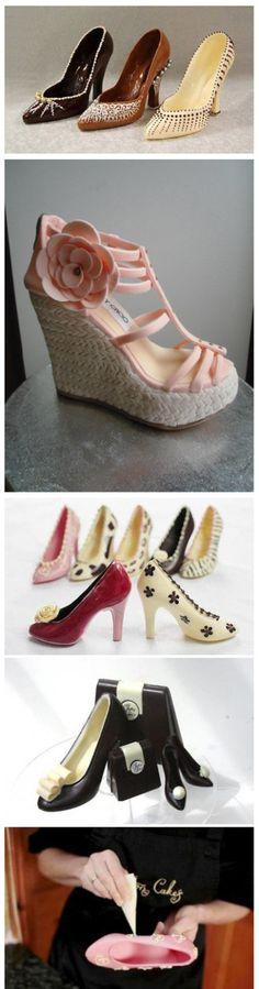High-heeled shoe-shaped chocolate cake Shoe Cakes 5b07cffe115