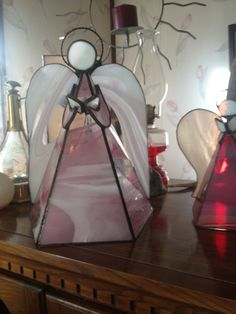 "14"" Pink Baroque Guardian Angel.  Beautiful when light up"