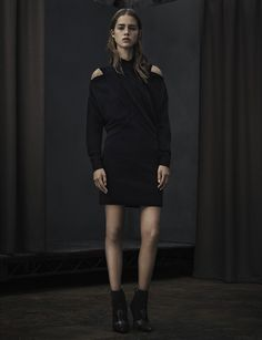 ALLSAINTS WOMEN'S LOOKBOOK LOOK 2. The Kaddi Mini Dress and Elmore Boot.