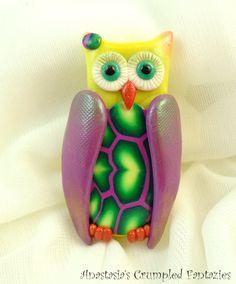 Polymer clay owl brooch Pearl purple yellow by CrumpledFantazies