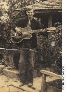 Doc Watson stands alone. There's nobody who can get a note out of an acoustic guitar that sounds quite like his thundering riffs. And he exudes the aura of a sweet soul who does not take himself too seriously.