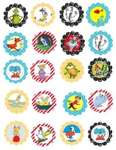"""Stampin' Up My Digital Studio. Did you know you can import images into MDS? AND they coordinate with Stampin up punches? Dr. Seuss cupcake pics! Print them and punch them out with Stampin up 1 3/4"""" scallop punch!"""
